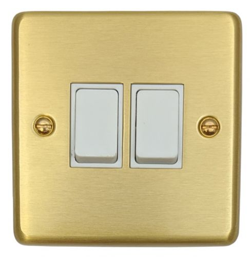 G&H CSB2W Standard Plate Satin Brushed Brass 2 Gang 1 or 2 Way Rocker Light Switch